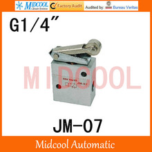 High quality Mechanical Pneumatic Valve  port 1/4″ JM-07  Hand Manual Valve Two-position Three-way