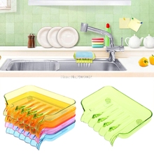 Bathroom Draining Soap Box Kitchen Sink Sponge Drainage Dish Holder -B119