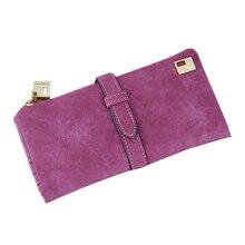 Купить с кэшбэком Fashion Women Wallets Drawstring Nubuck Leather Zipper Wallet for Women's Long Design Purse Two Fold More Color Clutch