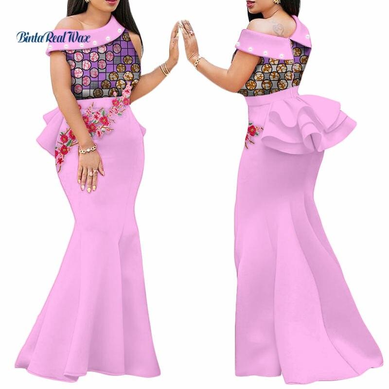 2018 robes imprimées africaines pour femmes Bazin Riche appliques drapées longues robes robes de fête vêtements traditionnels africains WY444