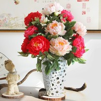 Hot selling 7 heads bride bouquet wedding flowers peony rose silk flower artificial flower for home decoration table flowers