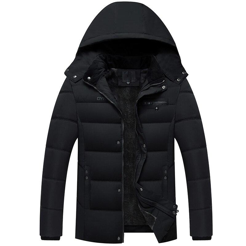 2018 зимняя Модная брендовая Куртка мужская черная с капюшоном парки уличная стеганая куртка толстый бархат фугу пузырь пальто мужская одежд...