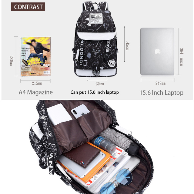 Fashion Backpack Male Female Laptop Shoulder Bag Best Travel Backpack For Men Women 5