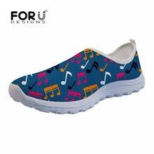 FORUDESIGNS colorido música notas patrón mujeres zapatos planos ocasionales  respirables mujer malla transpirable zapatos antideslizantes para 2b086e3de3e