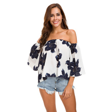14976587016 Europe 2018 Summer Fashion Women s Three Quarter Flash Sleeve Casual Loose  Print Blouse