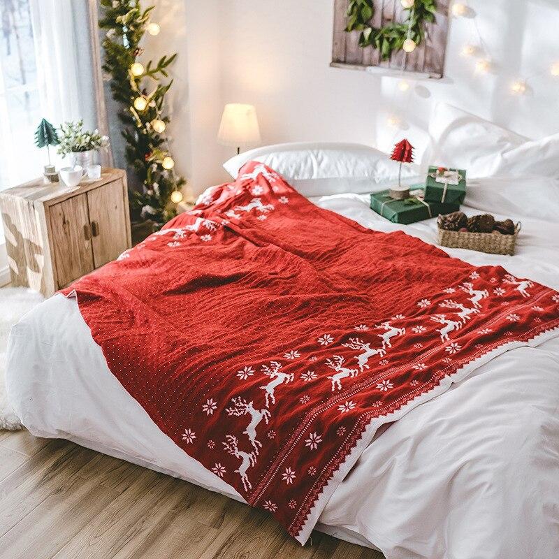 Теплое двустороннее рождественское вязаное одеяло рождественское покрывало с изображением оленя и снежинок акриловое моющееся покрывало для кровати, дивана - 3