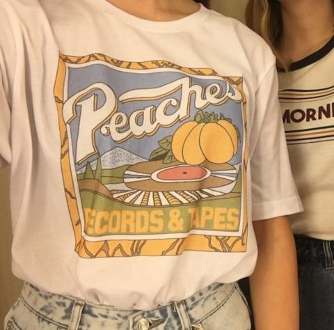 Kuakuayu hjn unissex vintage moda pêssegos registros fitas camiseta hipsters grunge estilo gráfico