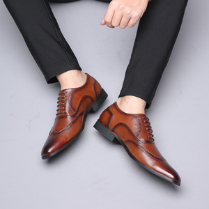 Image 1 - Leather Men Dress Shoes Formal Wedding Party Shoes For Men Retro Brogue Shoes Luxury Brand Mens Oxfords