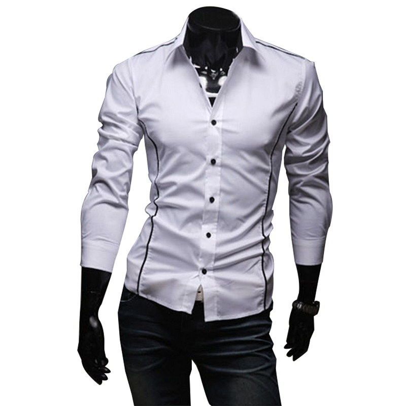 2016 New Mens Casual Shirts Slim Fit Long Sleeve Male Striped Shirts Camisa Social Clothes Chemise