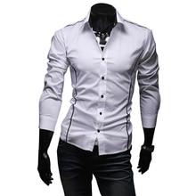 2016 Новый Мужские Рубашки Повседневные Slim Fit С Длинным Рукавом Мужчины полосатые Рубашки Camisa Социальной Одежда Сорочка Homme Plus Размер M-XXXL 50