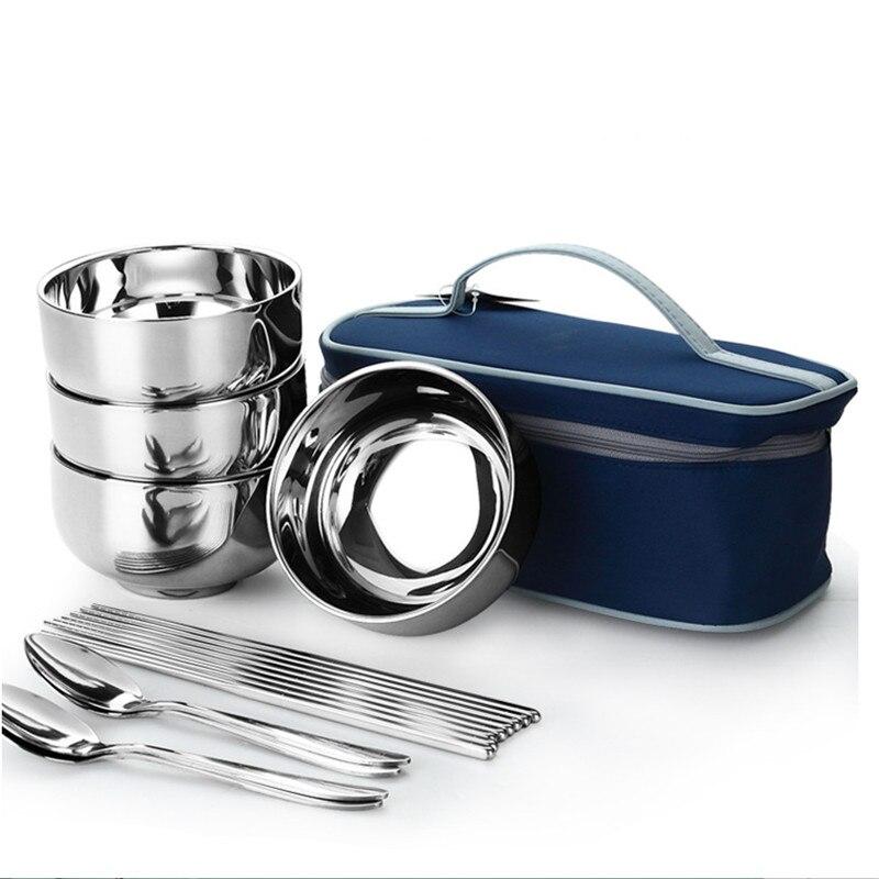 100% új rozsdamentes acél étkészlet szabadtéri piknik utazási - Konyha, étkező és bár