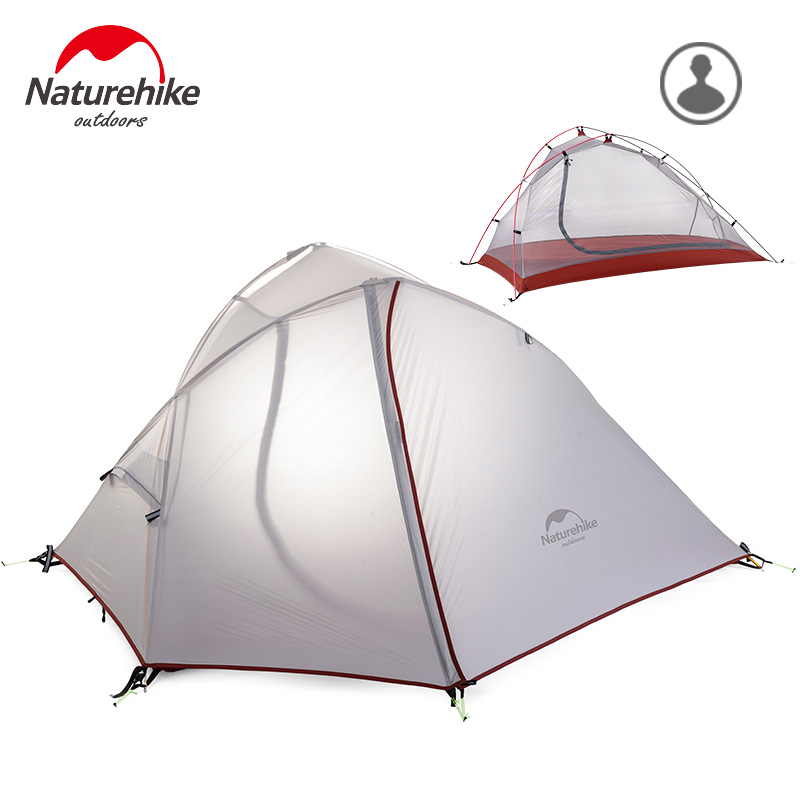 Naturehike new style high quality single person double layers rainproof ultralight camping outdoor tent with mat