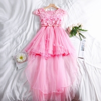 6 Color Junior's Floral Dresses Summer Sweet Elegant Flowers Tulle Appliques Dress for Women Homecoming Bodyline Pretty Dress