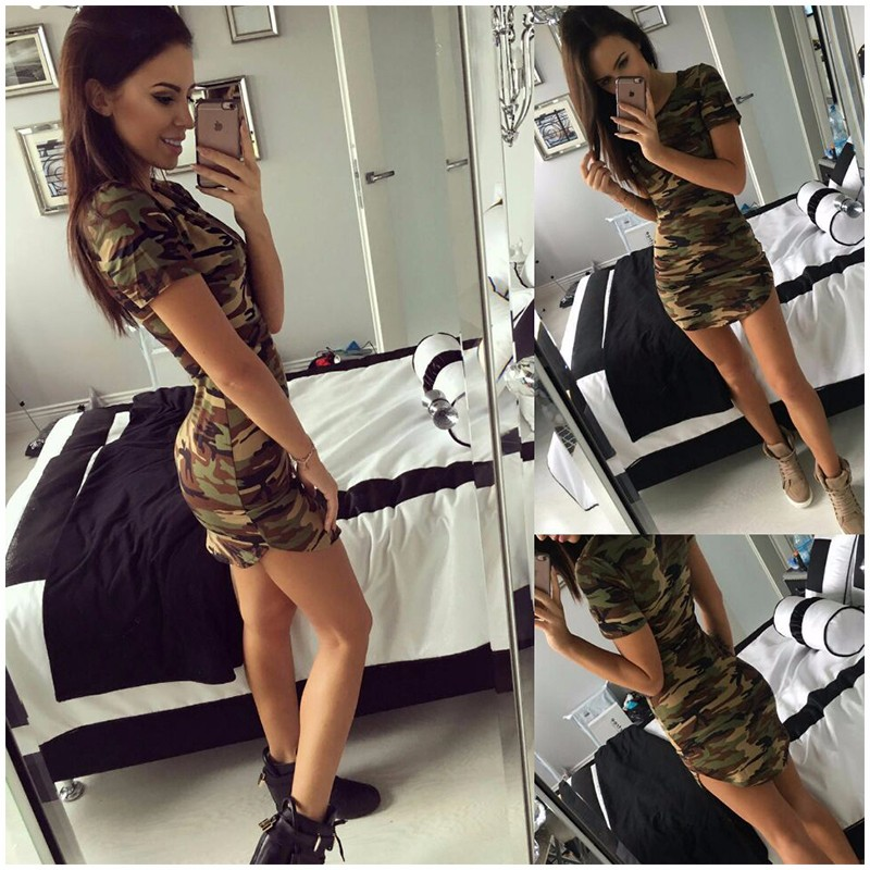 Manches Courtes Mini Robes Vert Camouflage
