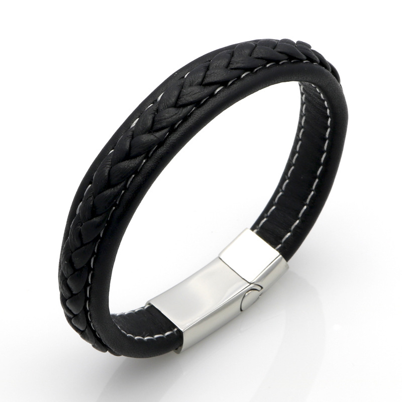 Fashion Stingray Black Brown Leather Silver Plated Stainless Steel Magnetic Clasp Male Leather Bracelets Jewelry For men Gift