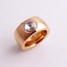 Crystal Zircon Ring 316L Stainless Steel Rose Gold Color For Women Men Fashion Jewelry