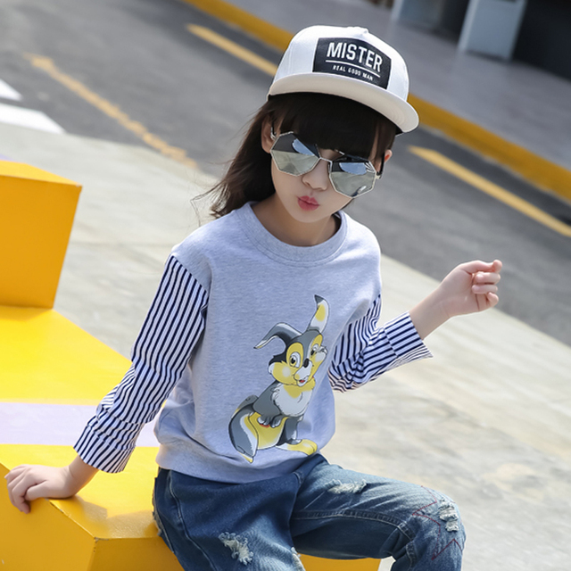 52953a467222 Teenage Girls autumn spring child top patchwork child long-sleeve casual  cartton print pullover sweatshirt