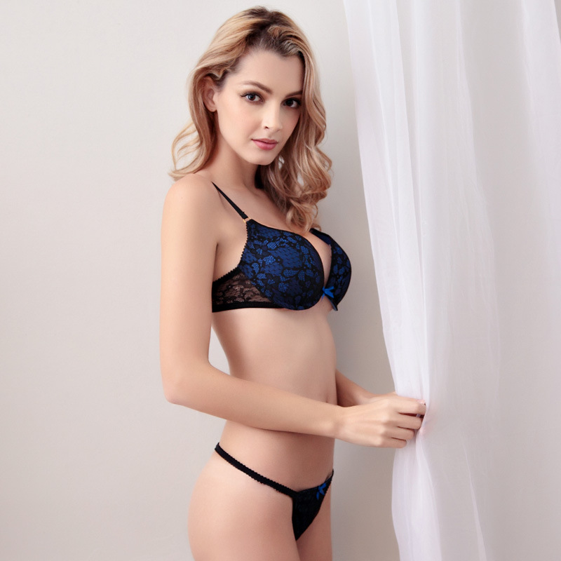 2efd498e10 Oyadeal Lady Lace deep V drawing Bra Set Top 3 4 Cup Thong pants Underwear  Women Lingerie Sexy Panties And Bra Sets-in Bra   Brief Sets from Underwear  ...