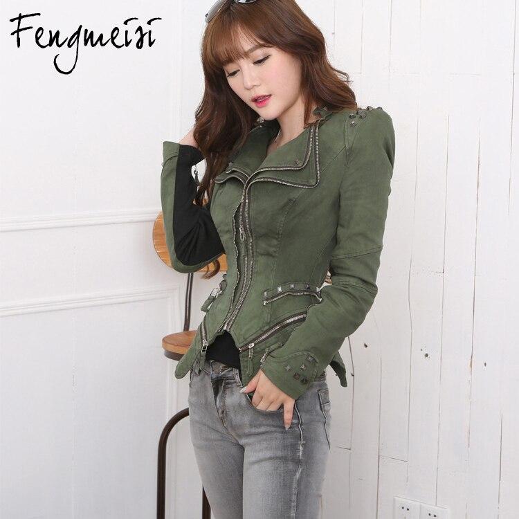 Fengmeisi 2017 Fashion Army green/Blue <font><b>jeans</b></font> jackets women oversized denim jacket punk chaquetas mujer vintage Rivet coats P2328