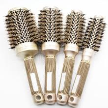 Nano Ionic Boar Bristle Hair Brush Salon Comb Barrel Blow Dry Hair