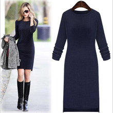 2016 New vestidos Autumn Winter Women Sweater Dress Package Hip Solid Color Slim O-Neck Long-Sleeved Casual Long Knit Dress