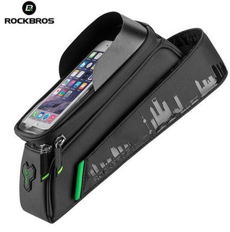 ROCKBROS Bicycle Front Tube Bags Touch Screen Waterproof Frame Panniers For 5.8/6 Inch MTB Road Cycling Accessories