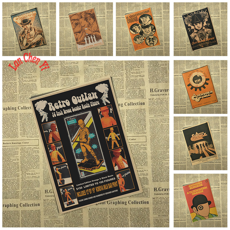 Vintage Nostalgic A Clockwork Orange Classic Movie Kraft Paper Poster Bar Սրճարան նրբին ձևավորում