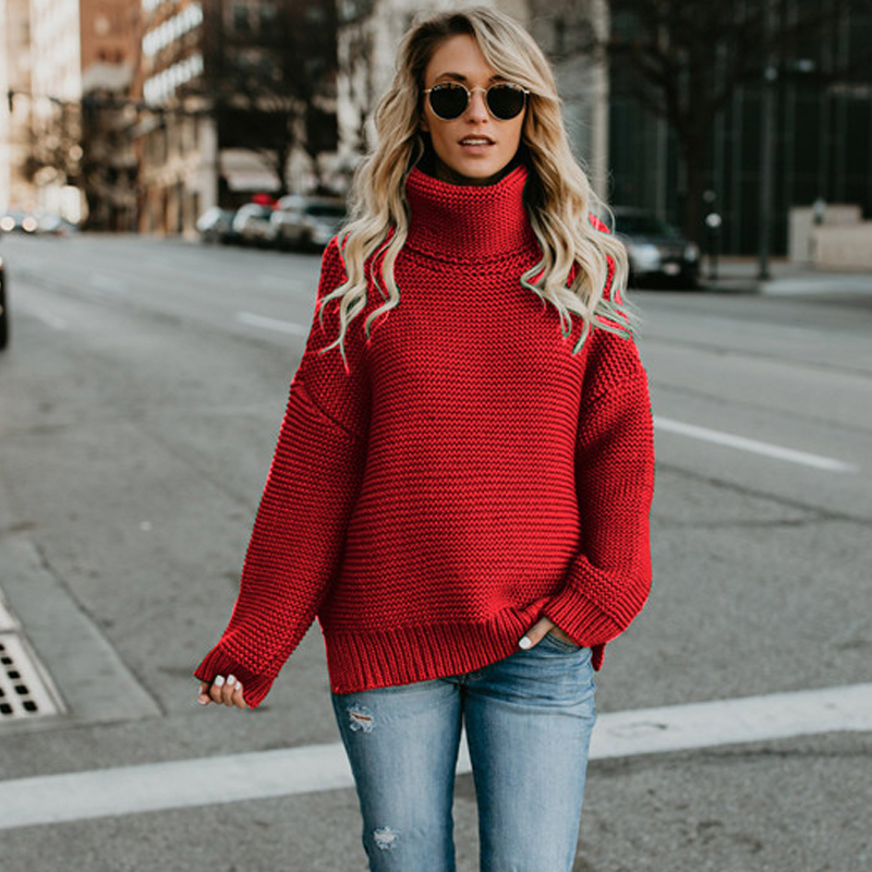 JAPPKBH Winter Sweater Women Fashion Casual Solid Turtleneck Sweater Warm  Vintage Loose Long Sleeve Knitted Pullover Sweaters 76a3607aa