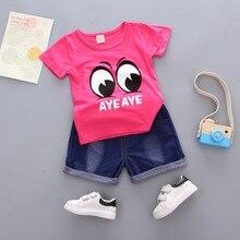 цена на 2019 summer baby boys fashion cartoon eye short t-shirt+jeans pants 2pcs casual sport Set Toddler Infant Clothes girls Suits
