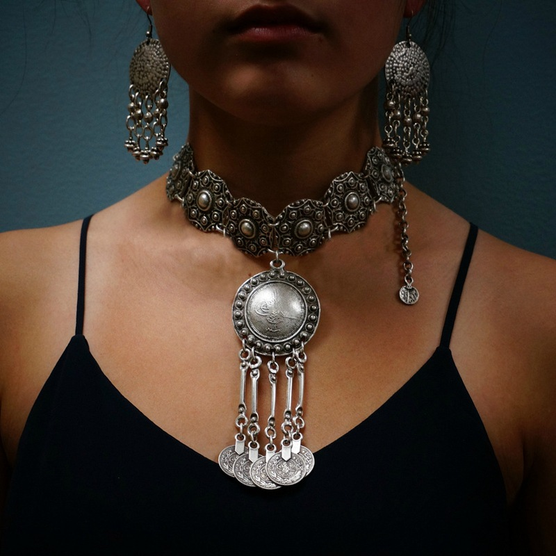 Bohemian vintage coin long pendant necklace silver chain gypsy bohemian vintage coin long pendant necklace silver chain gypsy tribal ethnic silver jewelry tassel necklace for aloadofball Image collections