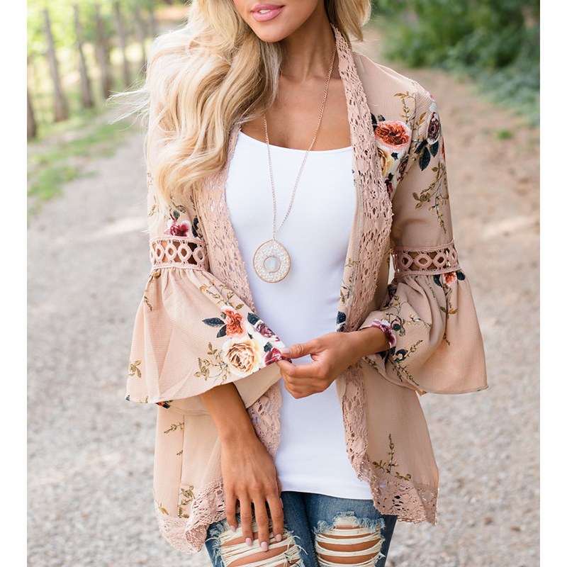 Women Jacket Kimono Floral Printed Cardigans 2018 Hollow Out Elegant 3/4 Sleeves Streetwear Top Outerwear WS8711Y