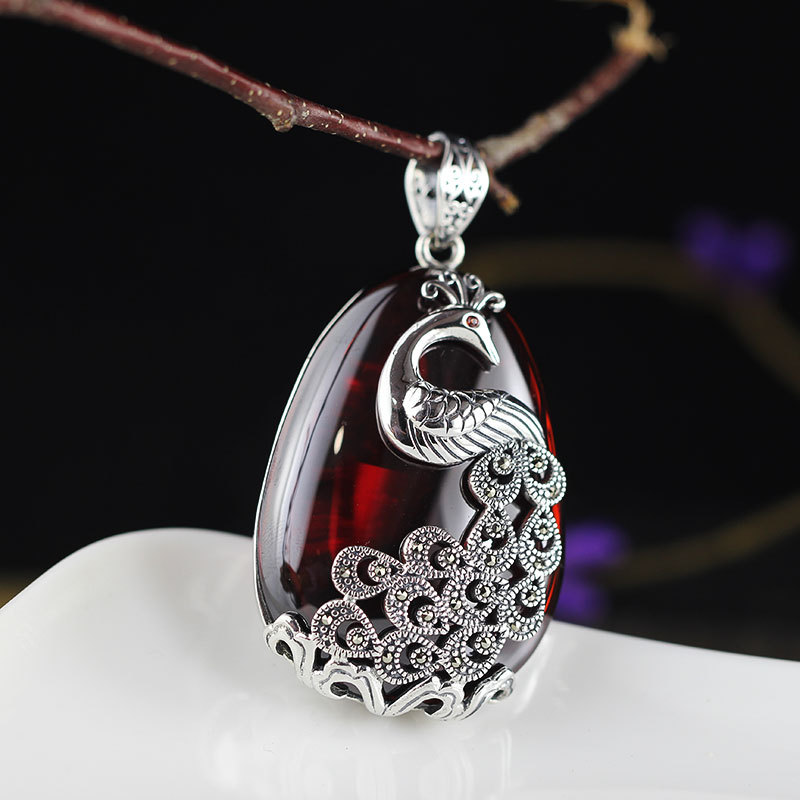 Vintage Natural Gemstone 925 Sterling Silver Pendant For Women,Sweater chain peacock Silver Pendant For Women Gift AJ цены