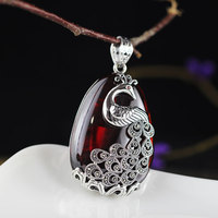 Vintage Natural Gemstone 925 Sterling Silver Pendant For Women,Sweater chain peacock Silver Pendant For Women Gift AJ