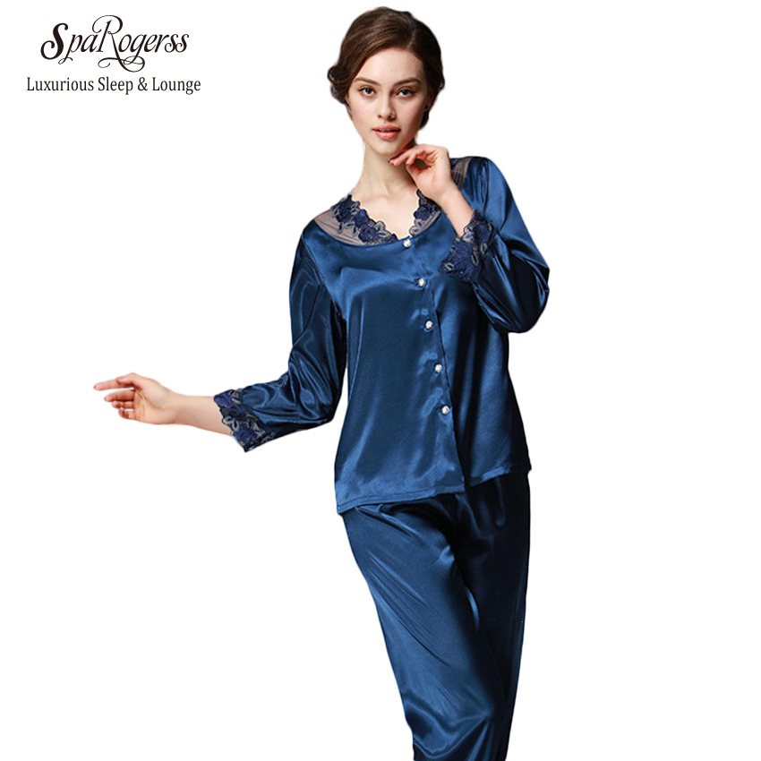 SpaRogerss 3/4 Sleeve Women Pajama Set 2017 Faux Silk Lace Lady Pajamas Female Pijamas 2 Pcs Silky Sleep Lounge Woman New TZ193