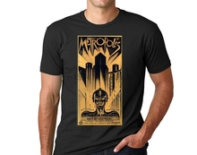 A Futuristic 20s Poster For The Great Silent Film Metropolis Printed On A T-Shirt Casual  Cotton  t shirt men  Broadcloth charles epting silent film quarterly issue 5