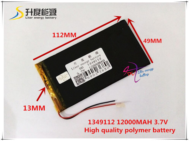 3.7V 12000mAH SD 1349112 (polymer lithium ion battery ) for POWER BANK;tablet pc