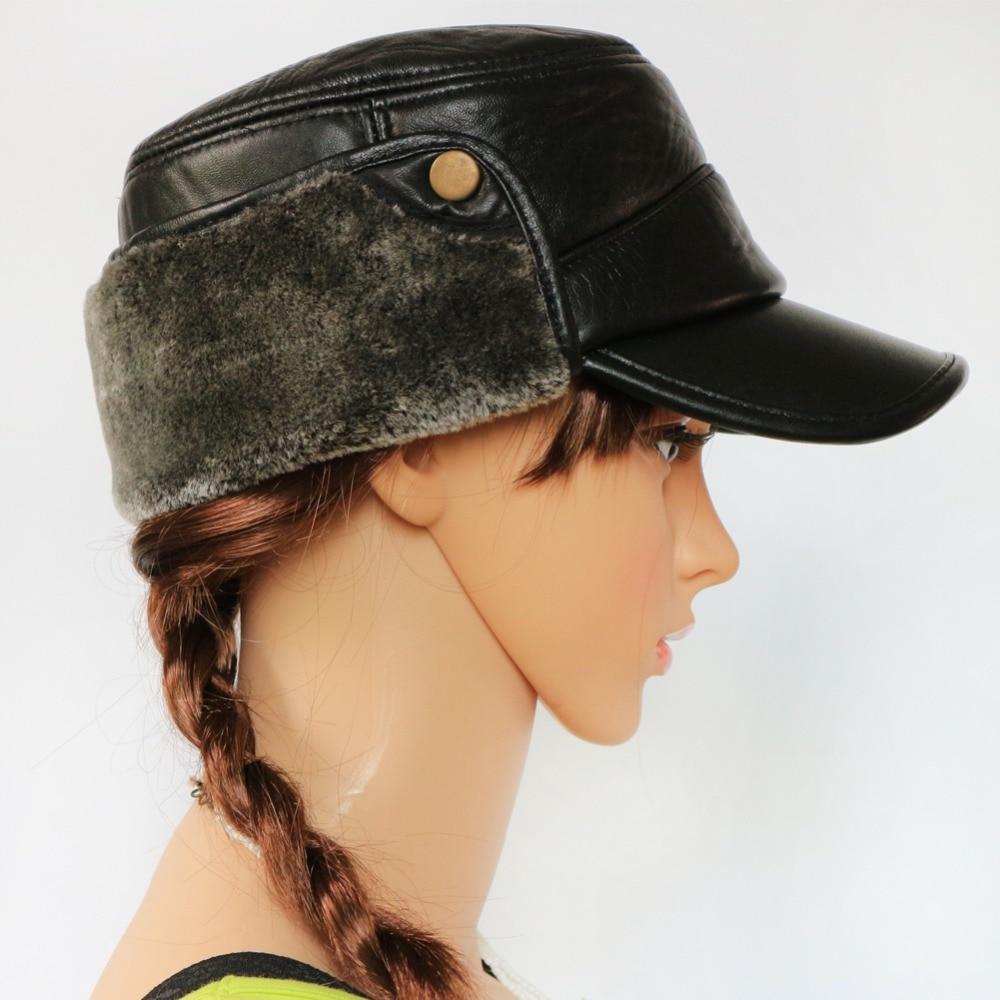 Boolawdee protección auditiva bombardero sombrero cuero genuino de la zalea  para viejos invierno ocio usar 55 60 cm tamaño m559 en Cazadora Bomber  sombreros ... e683ae2f774