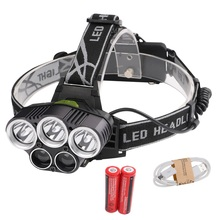 LED Headlamp 5 CREE XM-L T6 Q5 Headlight 15000 lumens USB Camp Hike Emergency Light Fishing Outdoor