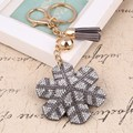 6 Color Snow Flowers Crystal Keyring Keychain Fashion Metal HandBag Pendant Purse Bag Buckle key chains holder Accessories Gift