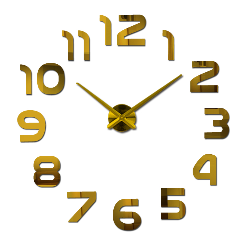 New hot sale wall clock watch clocks Modern Antique Style home decoration 3d diy acrylic mirror stickers Quartz Living