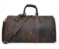 Vintage genuine leather cow skin men casual large holdall 60cm|Travel Bags| |  -
