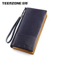 Teemzone rindsleder männer brieftaschen marke mens wallet leder echte große kapazität männer geldbörsen und handtaschen mann tasche