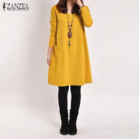 ZANZEA 2016 Autumn Women Dress Casual Loose Solid Pockets Female Long Sleeve V Neck Dresses Vestidos