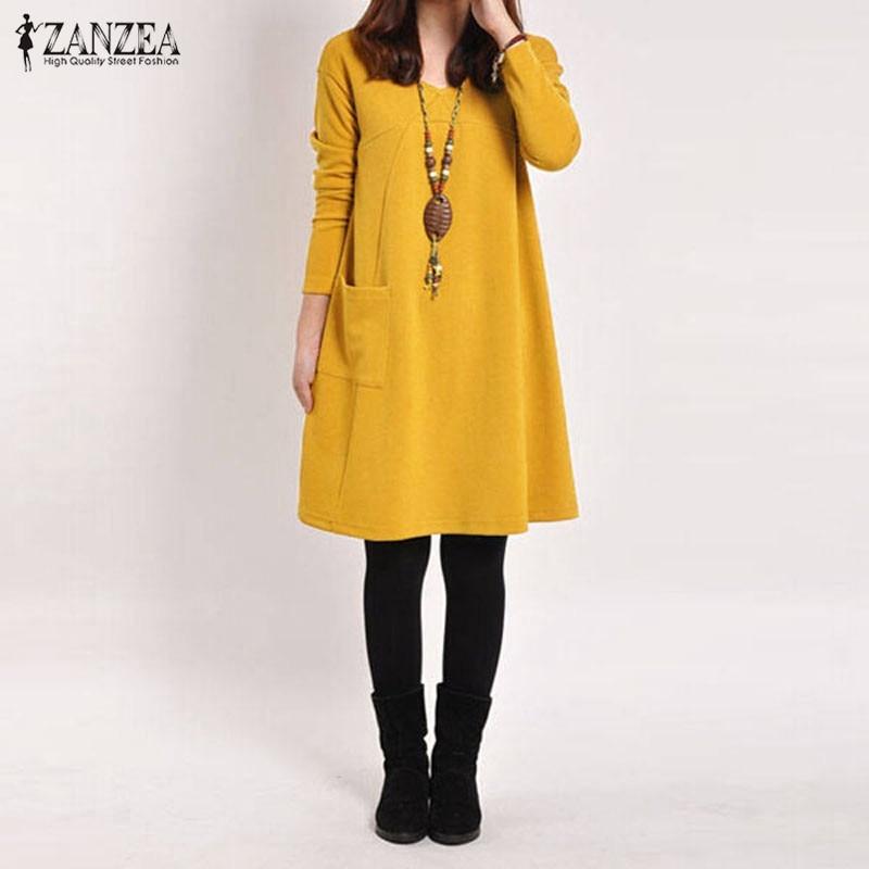 ZANZEA 2018 Herbst Frauen Kleid Beiläufige Lose Feste Taschen Weibliche Langarm V-ausschnitt Kleider Vestidos Femininas Plus Größe