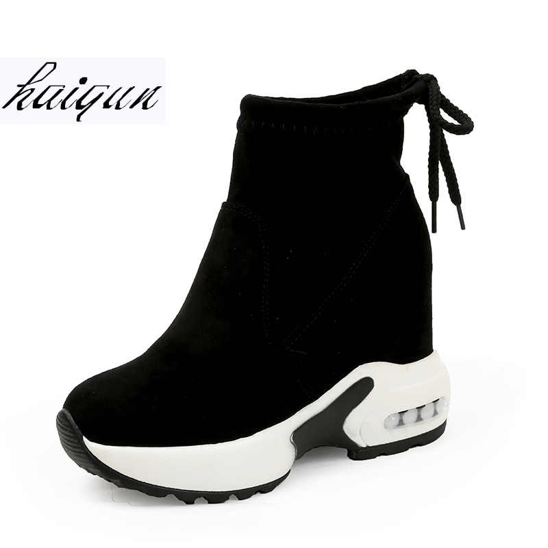 New 2019 Women Ankle Boots Platforms Shoes Woman High Heels Inside Height Increasing Faux Suede Boots Lace up Sneakers 10 cm