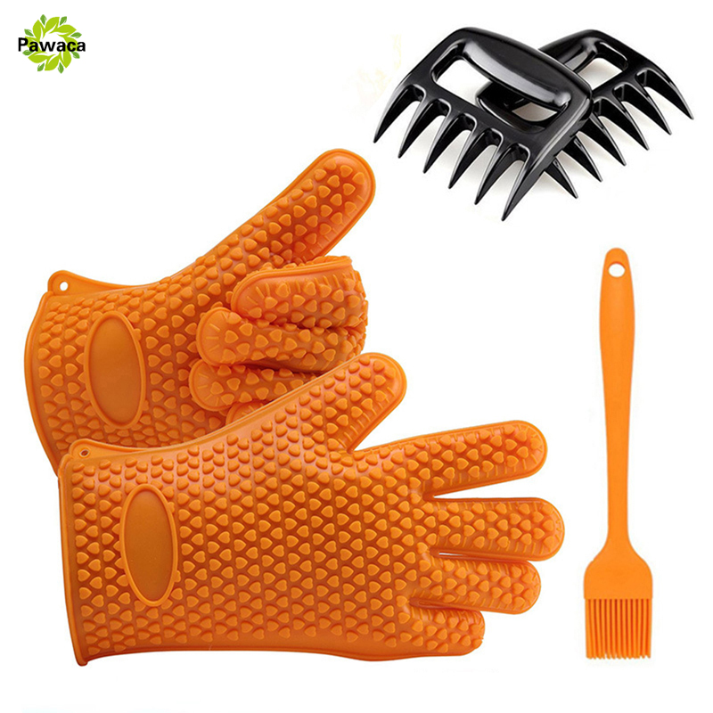 5 pcs/Set Heat Resistant Silicone Kitchen Oven Mitts BBQ Gloves Baking Brush Black Bear Claws Barbecue Fork BBQ Grill Tools Set