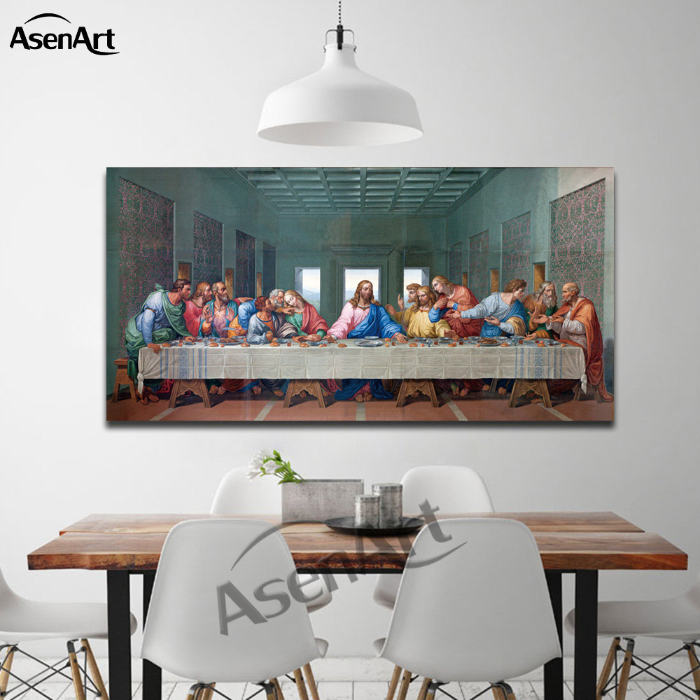 The Last Supper Leonardo Da Vinci Oil Painting Modern Pictures Large Clic Famous Wall Art Canvas Living Room Decor
