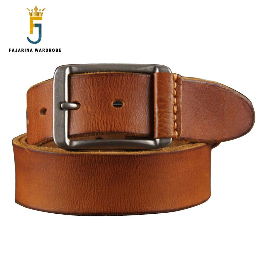 FAJARINA Quality Novelty Cow Skin Mens Designer Belts Man with Metal Retro Needlepoint Buckle Belt for Men 3.6cm Wide N17FJ104
