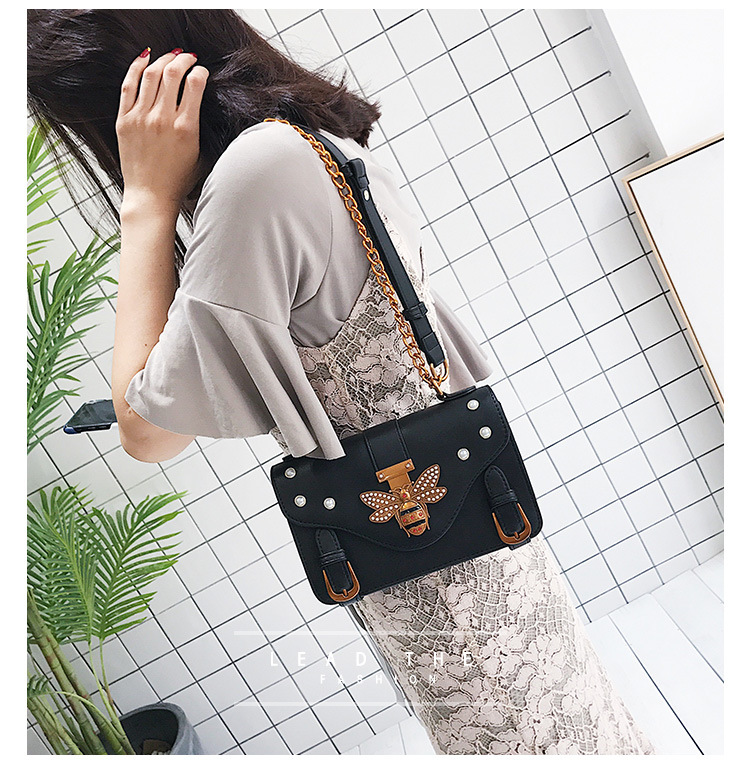 BLACK Gucci Inspired Women HandBag Retro Bee Honeybee Shoulder Bag Vintage Crossbody Bag