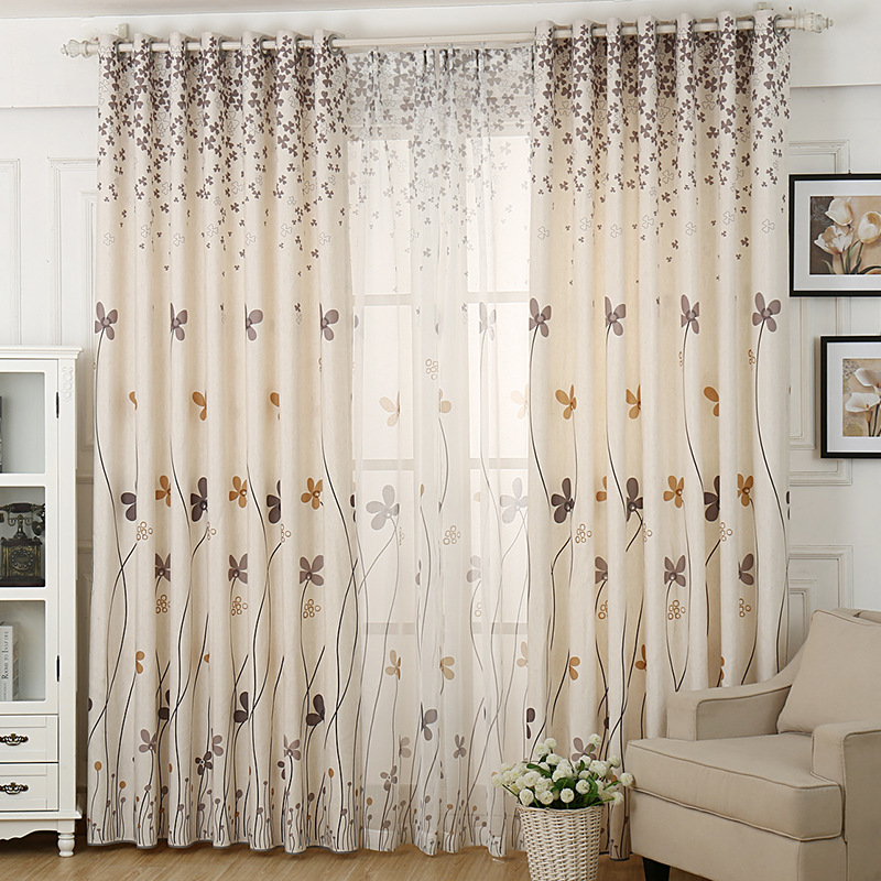 Fashion Stripe Rustic Curtain Yarn Bedroom Living Room: Herb Printed Rustic Curtains For Living Room Faux Linen